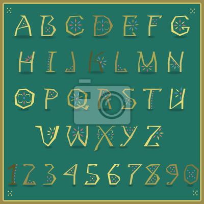 Golden Alphabet. Vector Illustration