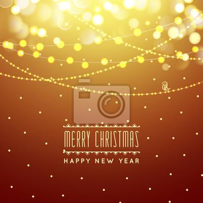 Golden christmas grußkarte licht vektor hintergrund. frohe ...