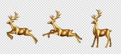 Fototapete Golden deer 3d decoration for christmas and new year design Vector