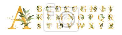 Fototapete Golden floral alphabet font uppercase letters with flowers leaves gold splatters