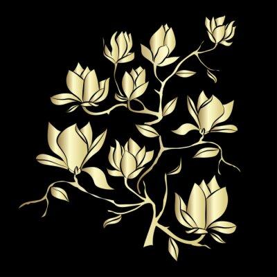 Fototapete Golden Flowering Zweig der Magnolia auf schwarzem Hintergrund Vektor-Illustration