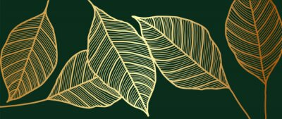 Fototapete Golden leaf wallpaper design vector. Gold tropical leaves line arts background. Vector illustration.
