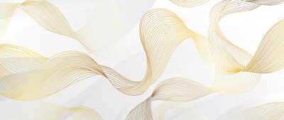 Fototapete Golden lines pattern background. Luxury gold Line arts wallpaper. Design for cover, invitation background, packaging design, fabric and print. Vector illustration.