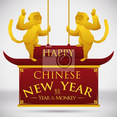 Goldene affen auf traditionellen chinesischen dach und neujahr ...