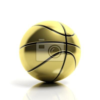 Goldene Basketball Ball isoliert auf weißem Hintergrund