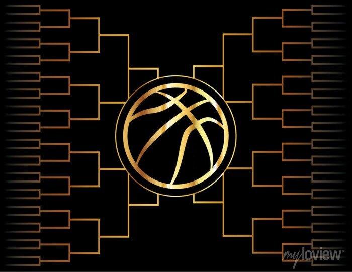 Fototapete Goldene Basketball-Symbol und Halterung