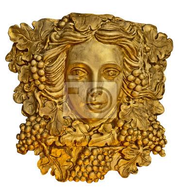Fototapete Goldene Büste Kopf einer griechischen Statue Mädchen