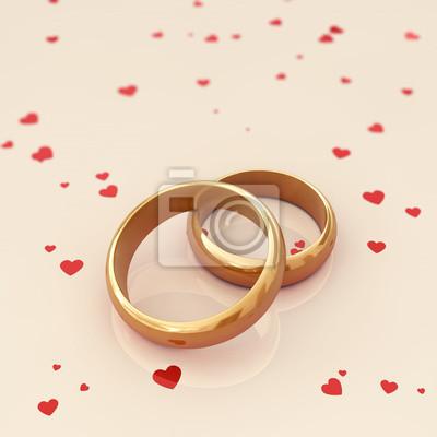 Goldene Hochzeit Ringe Auf Beigem Hintergrund Fototapete