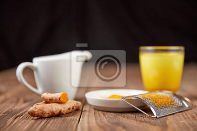 Goldene Milch Kurkuma Tee Mit Kurkuma Fototapete Fototapeten
