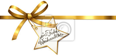 Stern Frohe Weihnachten.Fototapete Goldene Schleife Mit Stern Etikett Frohe Weihnachten