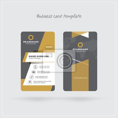 Fototapete Goldene Und Graue Vertikale Visitenkarte Druck Schablone Doppelseitige