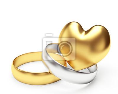 Goldene Und Silberne Hochzeit Ringe Und Herz Isoliert Auf Weissem