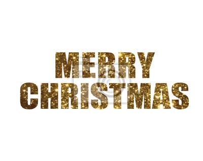Goldener glitzer isoliert urlaub wort frohe weihnachten fototapete ...