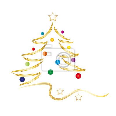 Goldener weihnachtsbaum mit bunten kugeln fototapete • fototapeten ...
