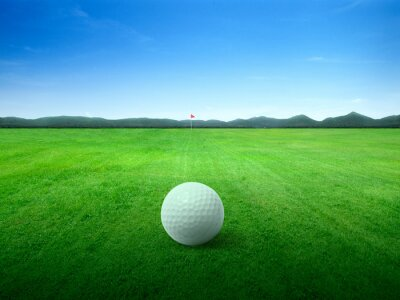 Fototapete Golf ball on green grass field and on green fairway with beautiful blue sky