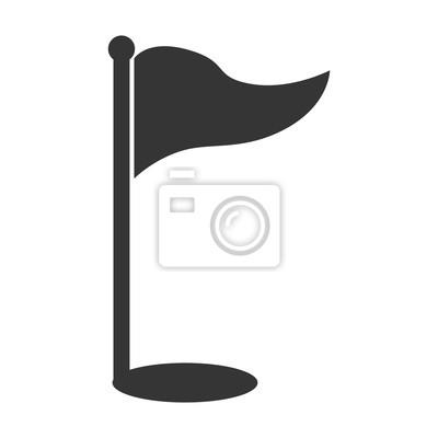 Golf-Sport-Flag-Loch isoliert flache Symbol, Vektor-Illustration.