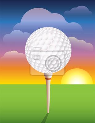 Golfball auf T-Hintergrund