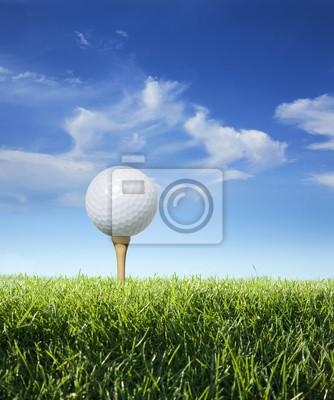 Golfball auf Tee im Gras angesehen close up
