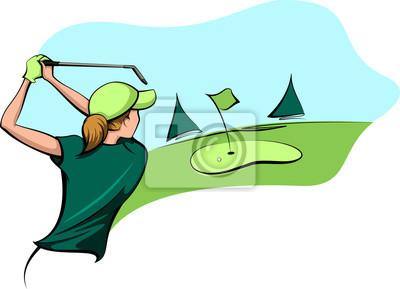 Golfer-Frau, die für das Grün geht
