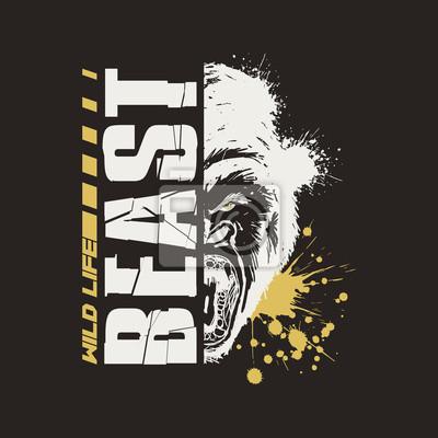 Fototapete Gorilla Graphic Vector Design T-shirt. Wild Life Beast.