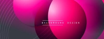 Fototapete Gradient circles with shadows. Vector techno abstract background. Modern overlapping forms wallpaper background, design template