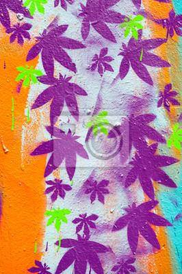 Graffiti feuilles violettes