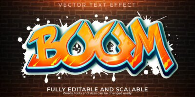 Fototapete Graffiti text effect, editable spray and street text style