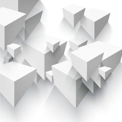 Fototapete Grafik Abstract geometrische Form von grauen Würfel.