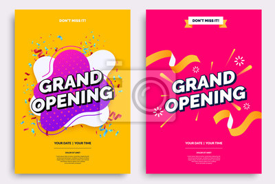 Fototapete Grand opening invitationt template. Colorful creativity design with bold text, bright background and a burst of confetti. Ribbon cutting ceremony. Vector illustration.