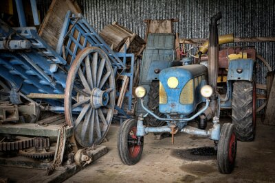 Fototapete grange et tracteur