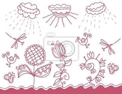 Graphic Landschaft mit Wetter Motive und Tiere