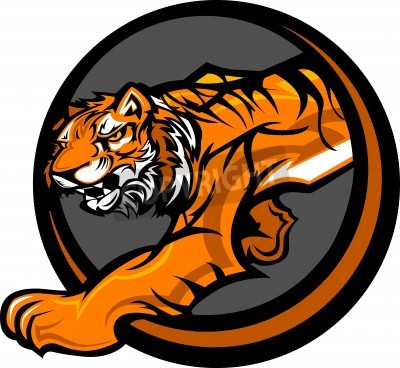 Fototapete Graphic Mascot Vector Image of a Tiger Body