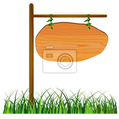 Fototapete Gras Holz -Frame-Schild