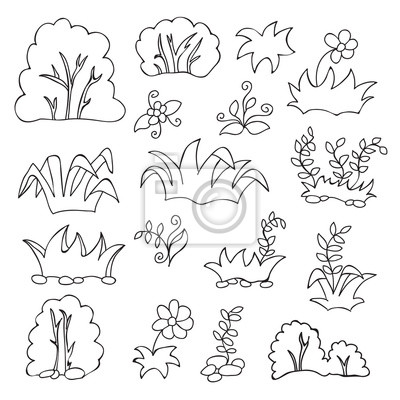 Grass and flowers cartoon coloring book for kids fototapete ...