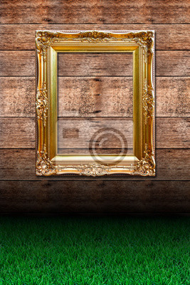 Fototapete Grass und Foto gegen Holzwand