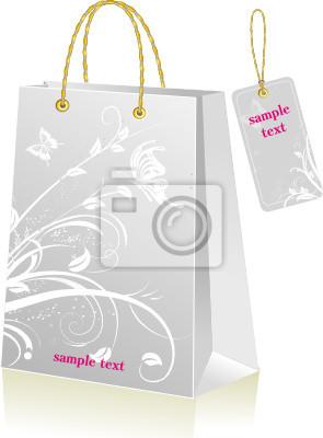 Grau Einkaufstasche und Etikett