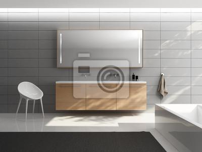 Grau minimal elegante luxus-badezimmer, holz-waschbecken fototapete ...