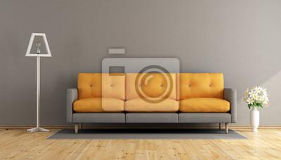 Grau und orange wohnzimmer fototapete • fototapeten appartment ...
