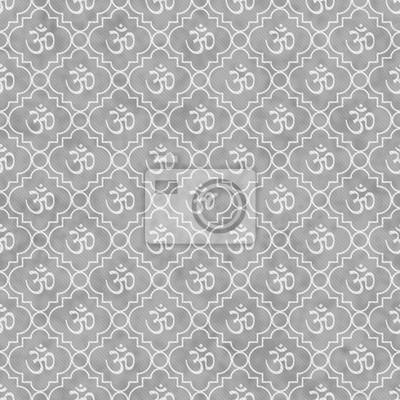 Fototapete Grau Und Weiß Aum Hindu Symbol Fliesenmuster Wiederholen  Hintergrund