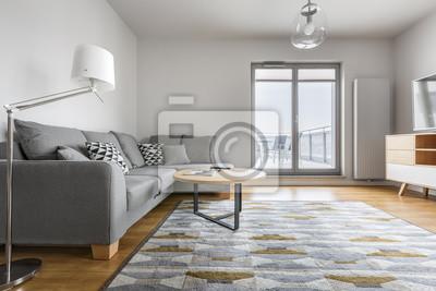 Grau Und Weisses Wohnzimmer Fototapete Fototapeten Appartment