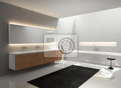 Grau weiß, holz spüle, modernen, eleganten luxus-badezimmer ...