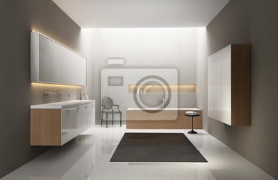Fototapete: Grau weiß, holz spüle, modernen, eleganten luxus-badezimmer,