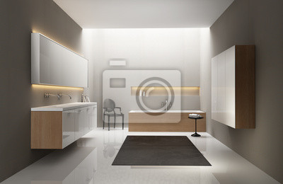 Grau Weiss Holz Spule Modernen Eleganten Luxus Badezimmer