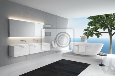 Fototapete Grau Weiß, Modernen, Eleganten Luxus Badezimmer Interieur,  Meerblick