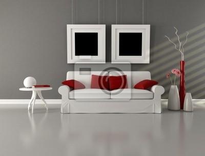 Fototapete: Grau weiß und rot minimalistischen wohnzimmer