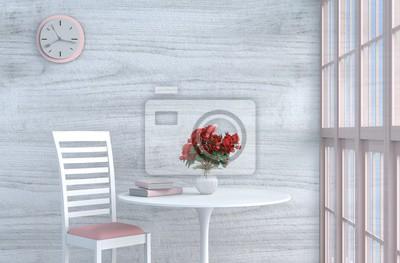 Grau Weißer Wohnzimmerdekor Mit Rosa Weißem Stuhl Wanduhr Weiße