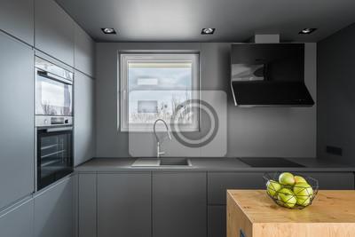 Graue küche mit fenster fototapete • fototapeten ...