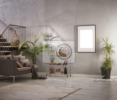 Fototapete Grauer Raum Eckstil Mit Grauem Steinwand Wohnzimmer Und Grauem  Sessel Design