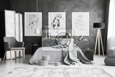 Grauer stuhl im schlafzimmer fototapete • fototapeten pouffe ...