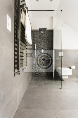 Graues badezimmer mit glänzenden fliesen fototapete • fototapeten ...